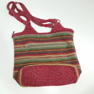 The Sak Red Striped Crochet Shoulder Bag H1-24